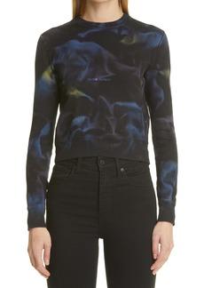 Saint Laurent Tie Dye Logo Cotton Sweatshirt