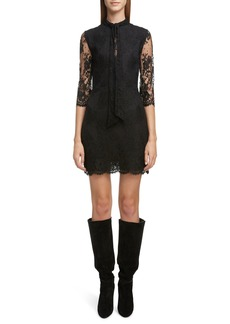 Saint Laurent Tie Neck Scallop Lace Sheath Dress