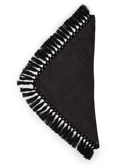 Saint Laurent Triangle Wool Knot Fringe Scarf