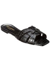 Saint Laurent Tribute Croc-Embossed Leather Slide Sandal