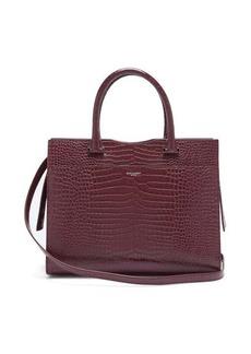 Saint Laurent Uptown crocodile-effect leather tote bag