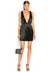 Saint Laurent Velvet Plunging Mini Dress