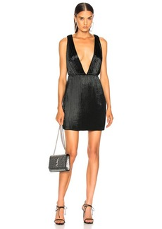 Saint Laurent Velvet Plunging Mini Dress