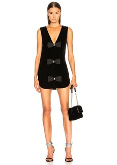Saint Laurent Velvet Sleeveless Bow Front Dress