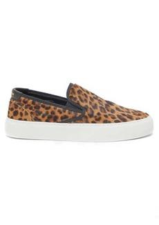 Saint Laurent Venice leopard-print calf-hair slip-on trainers