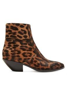 Saint Laurent West leopard-print calf-hair boots