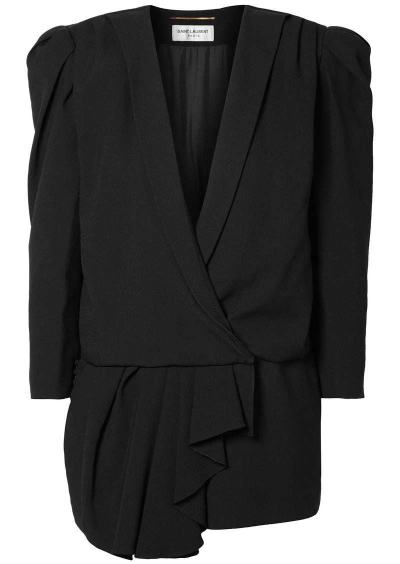 Saint Laurent Woman Asymmetric Draped Crepe De Chine Playsuit Black