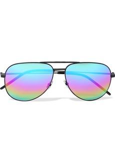 Saint Laurent Woman Aviator-style Metal Mirrored Sunglasses Multicolor