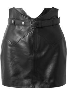 Saint Laurent Woman Belted Leather Mini Skirt Black