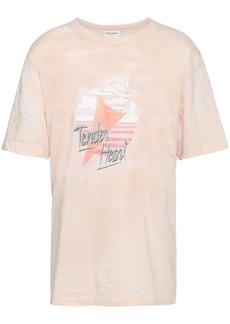 Saint Laurent Woman Burnout Printed Cotton-blend Jersey T-shirt Pastel Pink