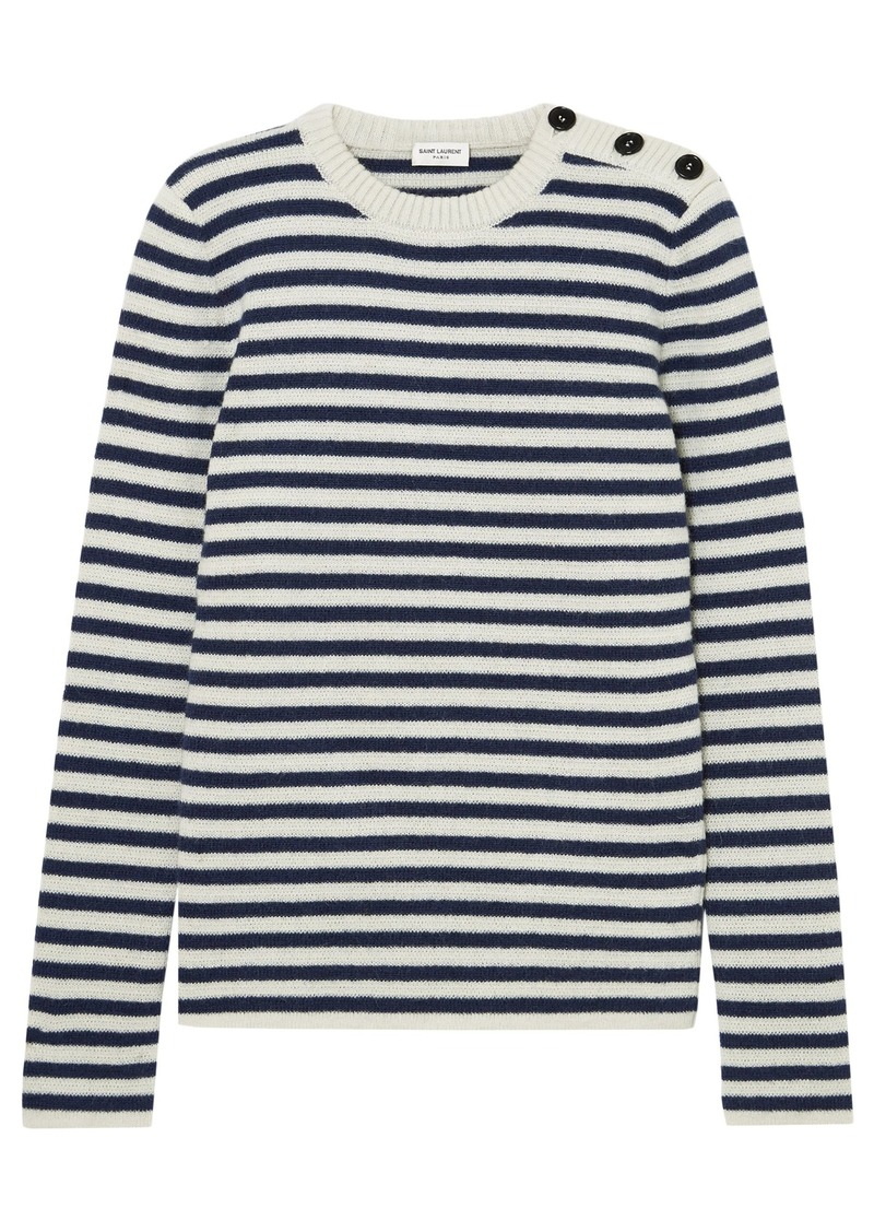 Saint Laurent Woman Button-detailed Striped Mohair-blend Sweater Off-white