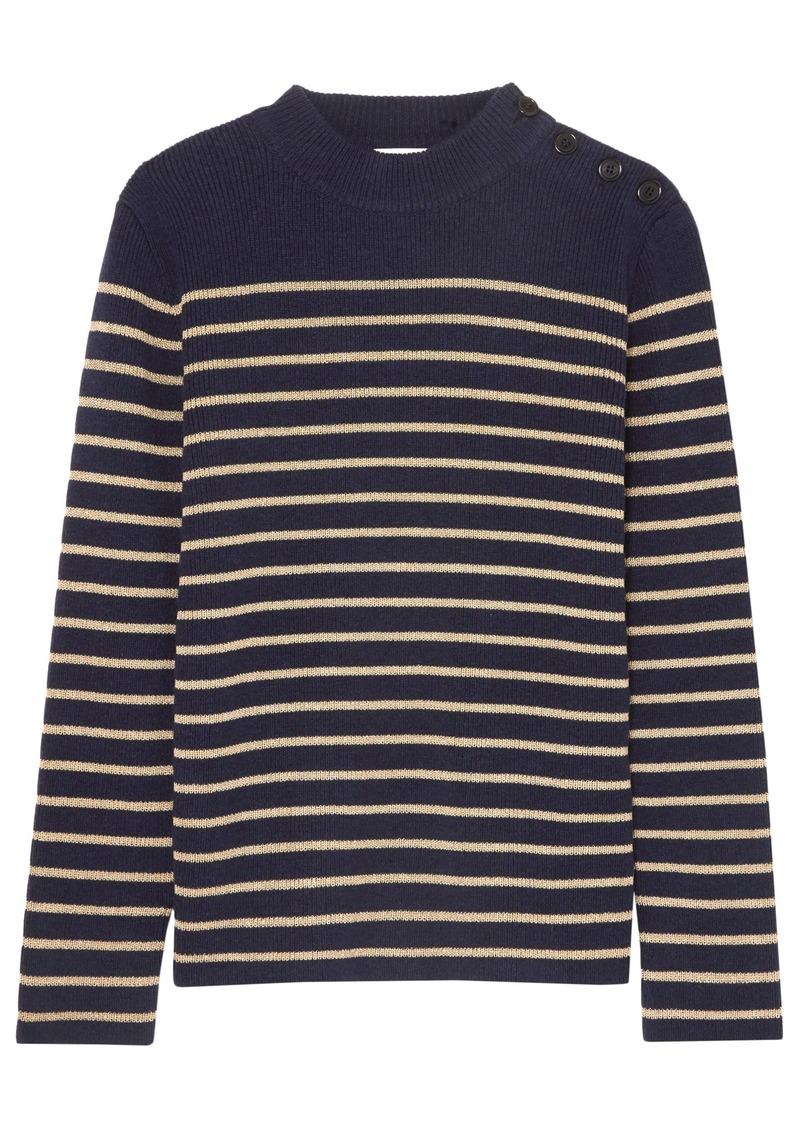 Saint Laurent Woman Button-detailed Striped Wool-blend Sweater Navy