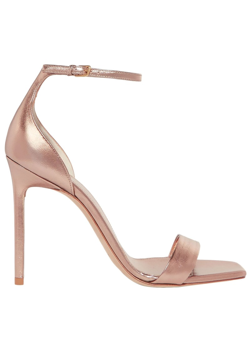 Saint Laurent Woman Coated Metallic Leather Sandals Rose Gold