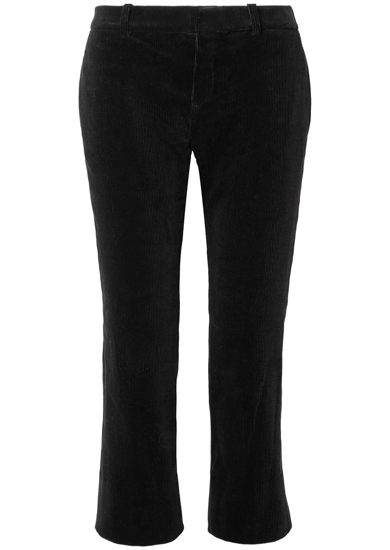 Saint Laurent Woman Cotton-corduroy Kick-flare Pants Black