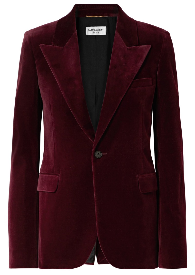Saint Laurent Woman Cotton-velvet Blazer Burgundy