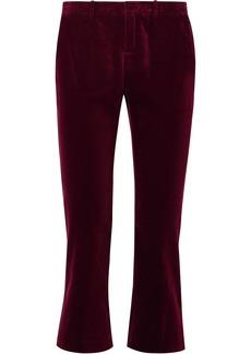 Saint Laurent Woman Cotton-velvet Kick-flare Pants Merlot