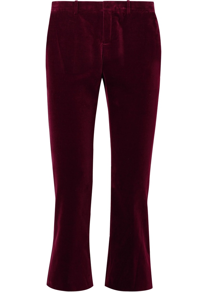 Saint Laurent Woman Cotton-velvet Kick-flare Pants Merlot