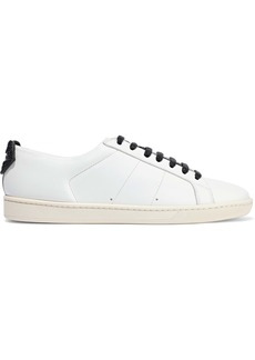 Saint Laurent Woman Court Appliquéd Leather Sneakers White