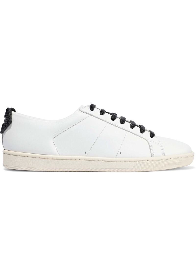 Saint Laurent Woman Court Appliquéd Leather Sneakers White