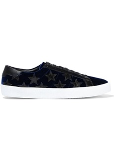 Saint Laurent Woman Court Classic Appliquéd Velvet Sneakers Storm Blue