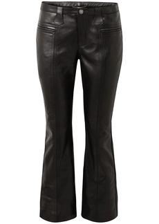 Saint Laurent Woman Cropped Leather Kick-flare Pants Black
