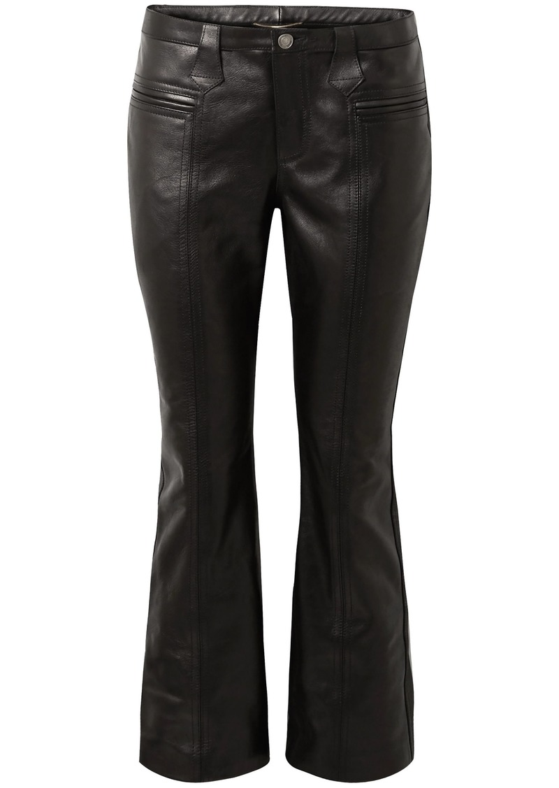 Saint Laurent Woman Cropped Leather Flared Pants Black
