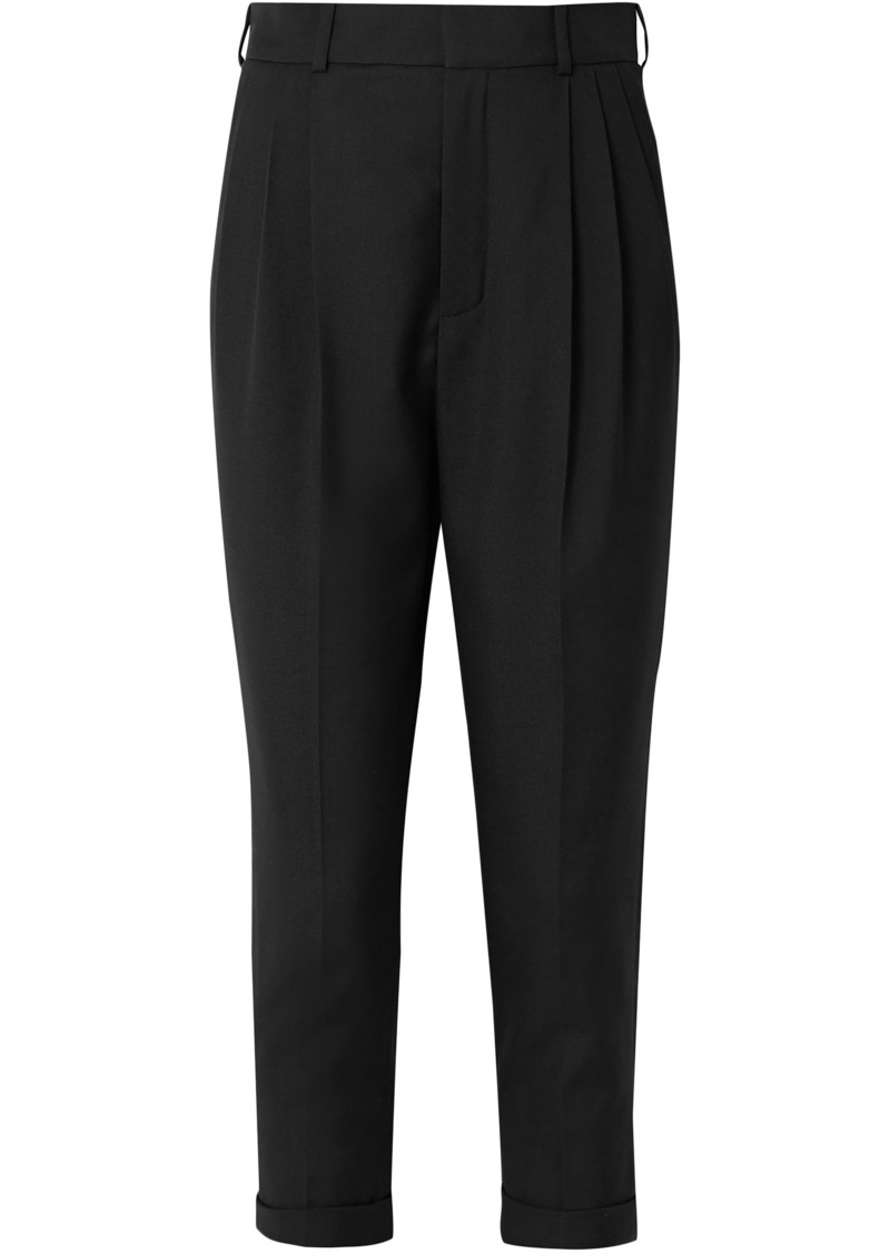 Saint Laurent Woman Cropped Pleated Wool-gabardine Tapered Pants Black