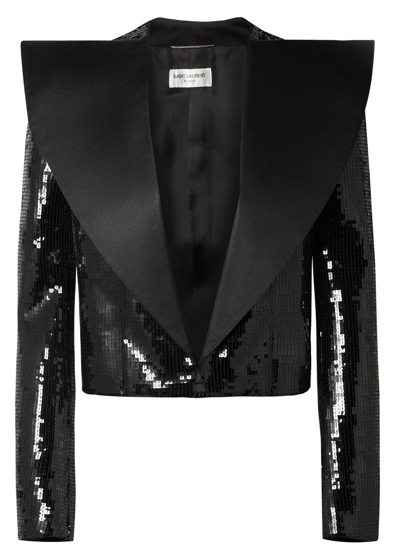 Saint Laurent Woman Cropped Satin-paneled Sequined Wool Jacket Black