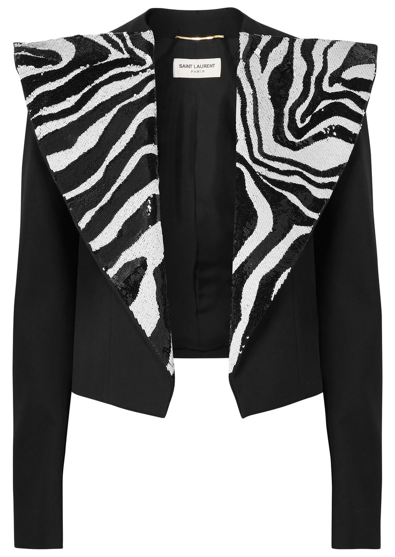 Saint Laurent Woman Cropped Sequin-embellished Wool-crepe Jacket Black