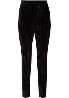 Saint Laurent Woman Crushed-velvet Slim-leg Pants Black