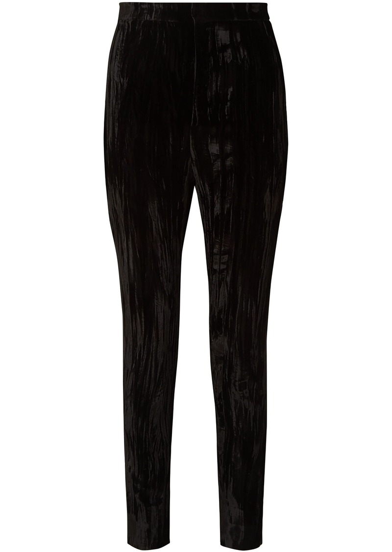 Saint Laurent Woman Crushed-velvet Slim-leg Pants Black