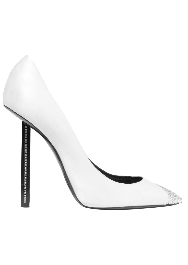 Saint Laurent Woman Crystal-embellished Silk-satin Pumps White