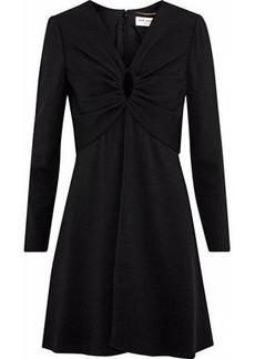 Saint Laurent Woman Cutout Gathered Crepe Mini Dress Black