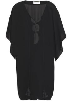 Saint Laurent Woman Cutout Lace-up Crepe Kaftan Black
