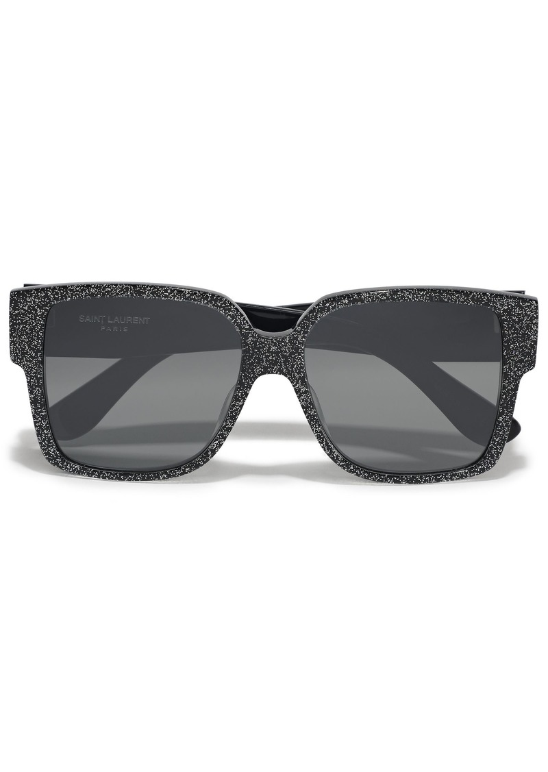 Saint Laurent Woman D-frame Glittered Acetate Sunglasses Black