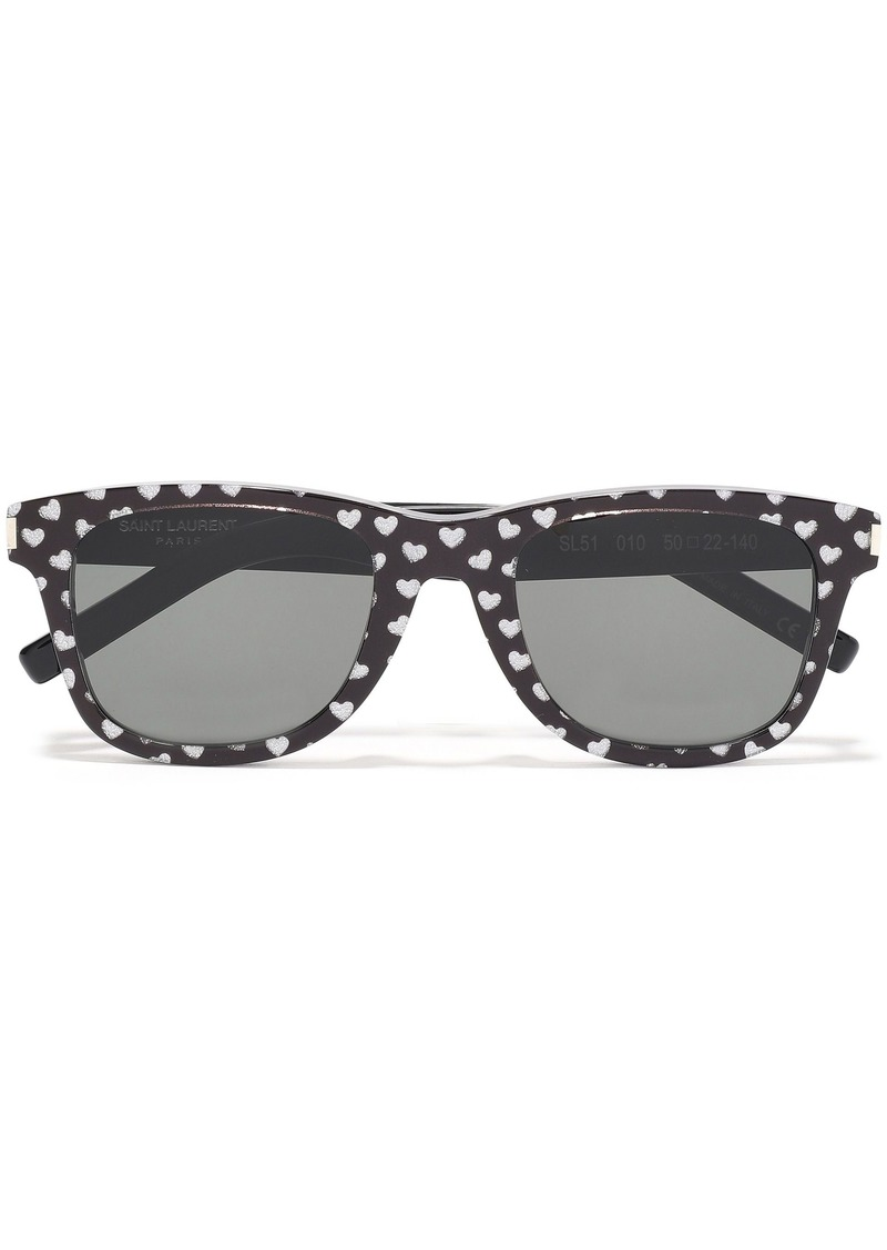 Saint Laurent Woman D-frame Metallic Printed Acetate Sunglasses Black