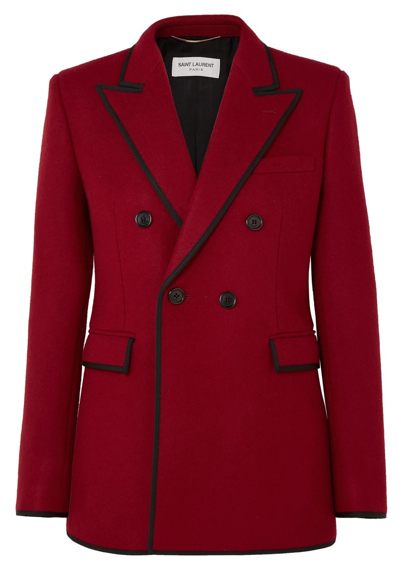 Saint Laurent Woman Double-breasted Grosgrain-trimmed Wool Blazer Red