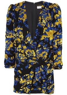 Saint Laurent Woman Draped Embellished Silk Crepe De Chine Mini Dress Black
