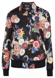 Saint Laurent Woman Floral-print Satin Bomber Jacket Multicolor