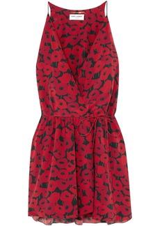 Saint Laurent Woman Floral-print Silk Mini Wrap Dress Red