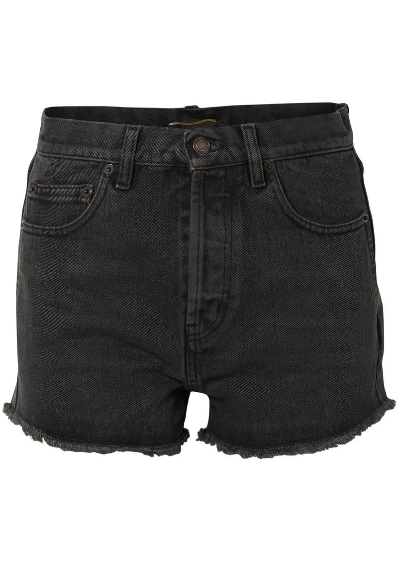 Saint Laurent Woman Frayed Denim Shorts Charcoal