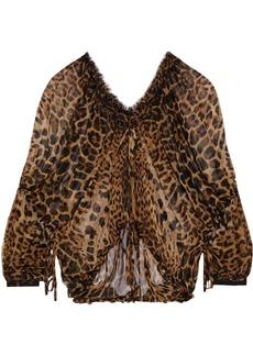 Saint Laurent Woman Gathered Leopard-print Silk-chiffon Blouse Animal Print
