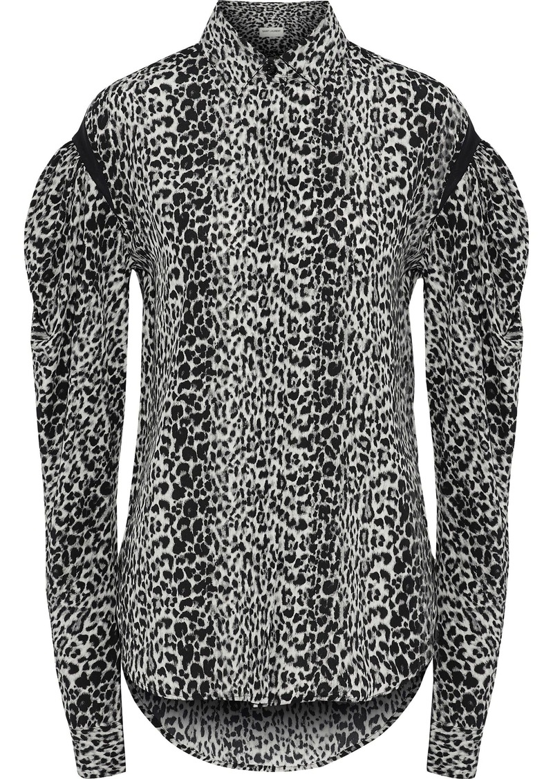 Saint Laurent Woman Gathered Leopard-print Silk Crepe De Chine Shirt Animal Print