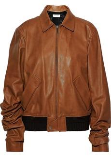 Saint Laurent Woman Gathered Pebbled-leather Jacket Tan