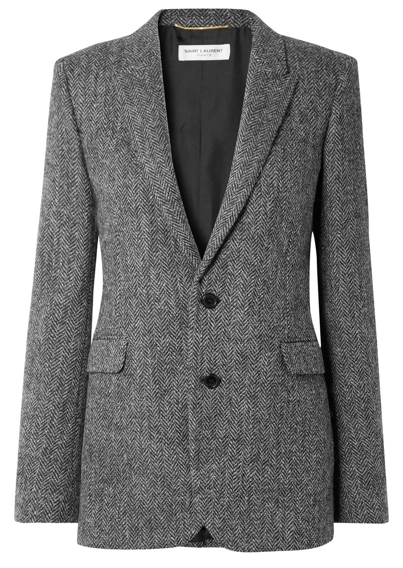 Saint Laurent Woman Herringbone Wool Blazer Gray