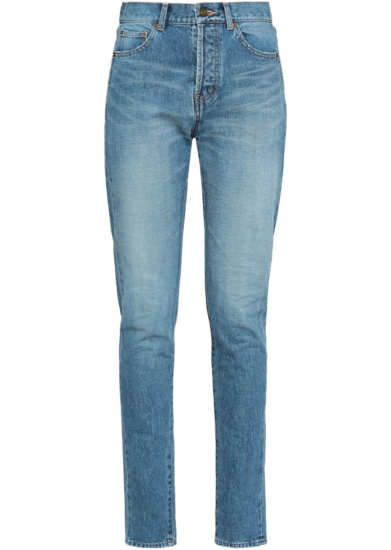 Saint Laurent Woman High-rise Skinny Jeans Mid Denim