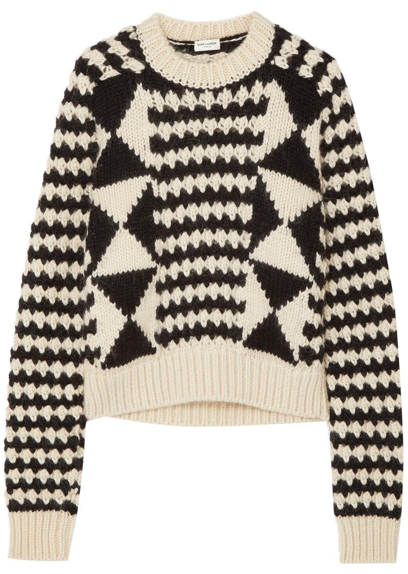 Saint Laurent Woman Cable-knit Wool-blend Sweater Black