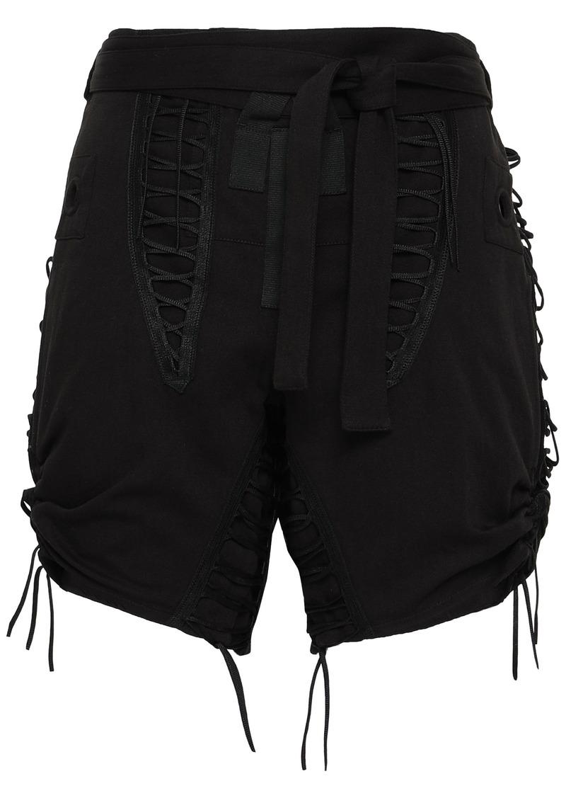 Saint Laurent Woman Lace-up Cotton And Linen-blend Twill Shorts Black
