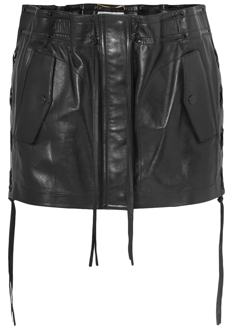 Saint Laurent Woman Lace-up Leather Mini Skirt Black
