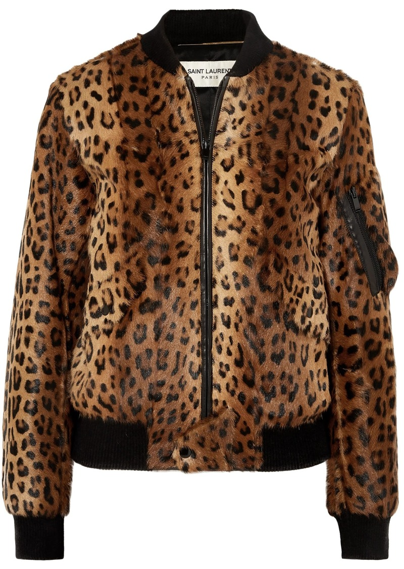 Saint Laurent Woman Leather-trimmed Leopard-print Goat Hair Bomber Jacket Brown